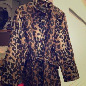 NWT Leopard print Midi wool like trench .  coat